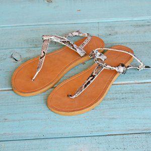 Kirra Python Snake Skin Thong Sandals Sz 7